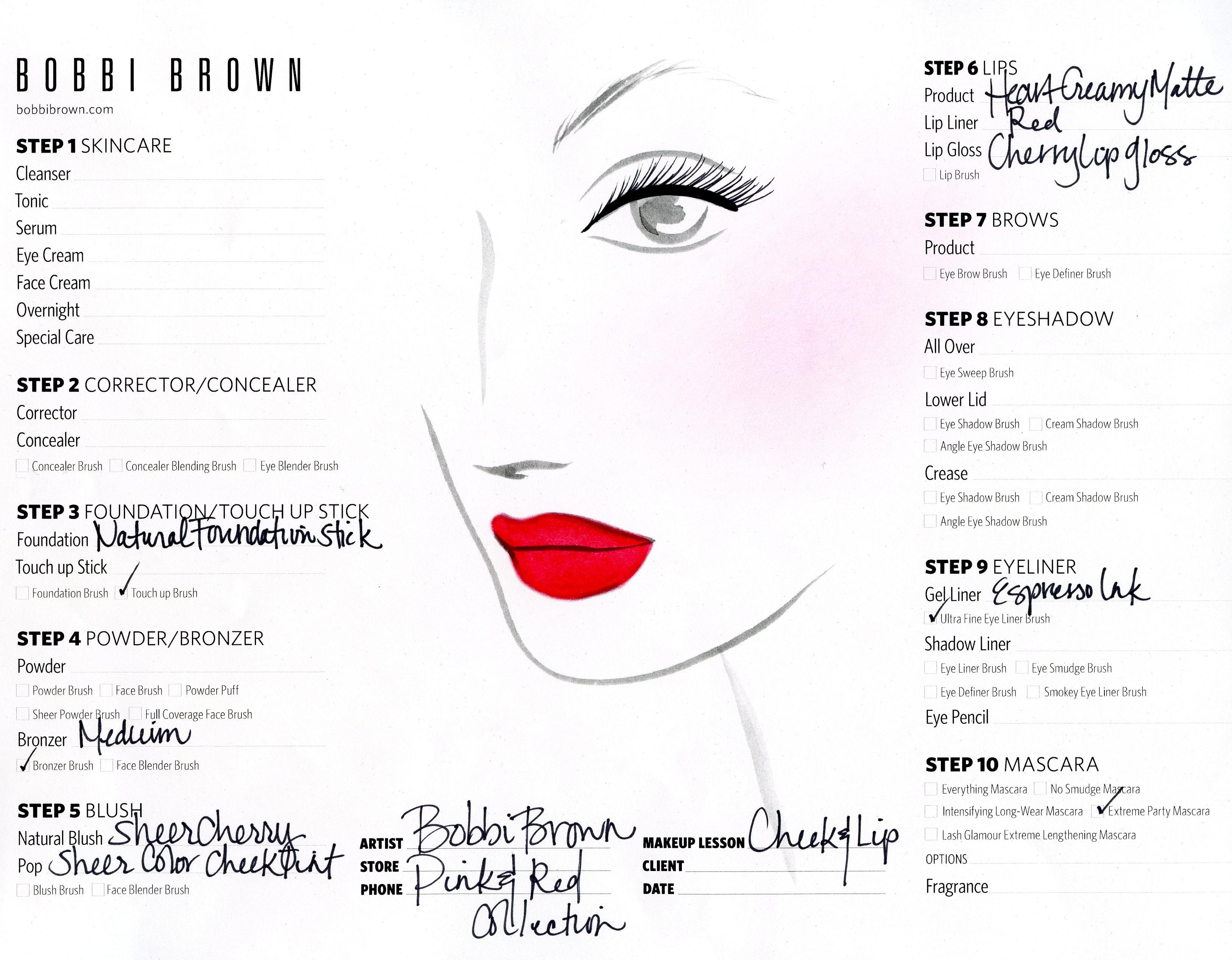 Pink & Red Face Chart